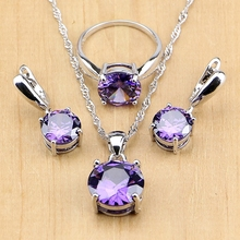 925 Silver Party Jewelry Purple Cubic Zirconia White Zircon Jewelry Sets For Women Earring/Pendant/Necklace/Ring цена 2017