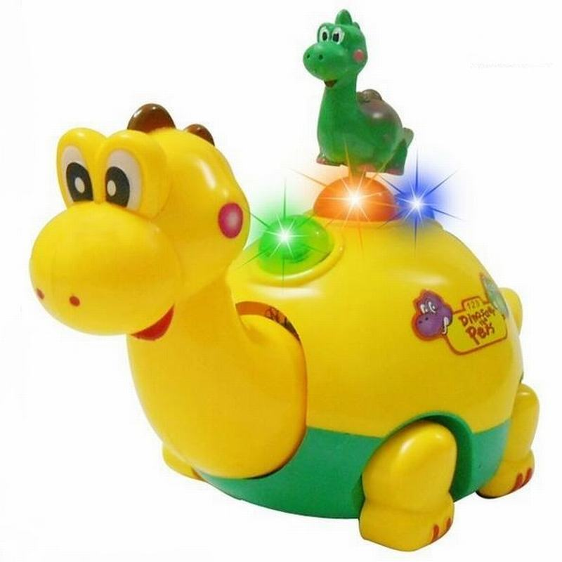 Electric Pet LED Flashing Lights Musical Assembly Dinosaur Toys Figure <font><b>Action</b></font> Toy Electric Universal Baby Children Toys