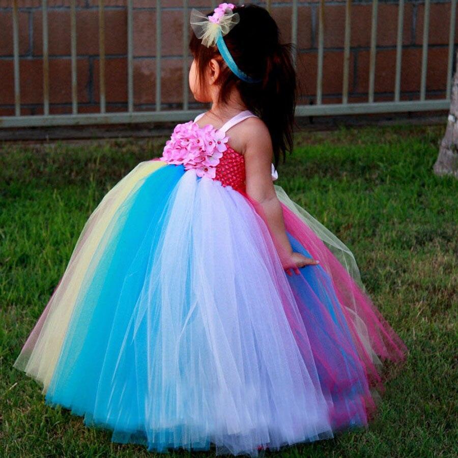 Candy Color Floor-Délka Dívky Flower Tutu Šaty Narozeninové Party Foto Svatební šaty s čelenkou 2T-7Y TS073