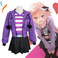 2019 New Fashion Coshome Fate Apocrypha Astolfo Cosplay Costumes Pink Wig Women Purple Jacket Spring Coat For Halloween Party