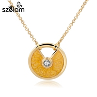 Boho Gold Long Necklace Enamel Round Women Necklace Wedding Engagement Jewelry Orange Yellow Blue Green SNE160111