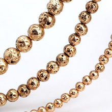Olingart Natural Volcanic Rock Stone Plating copper Round Beads 4MM 80pcs/6MM 60pcs/8MM 35pcs DIY Necklace Jewelry Making