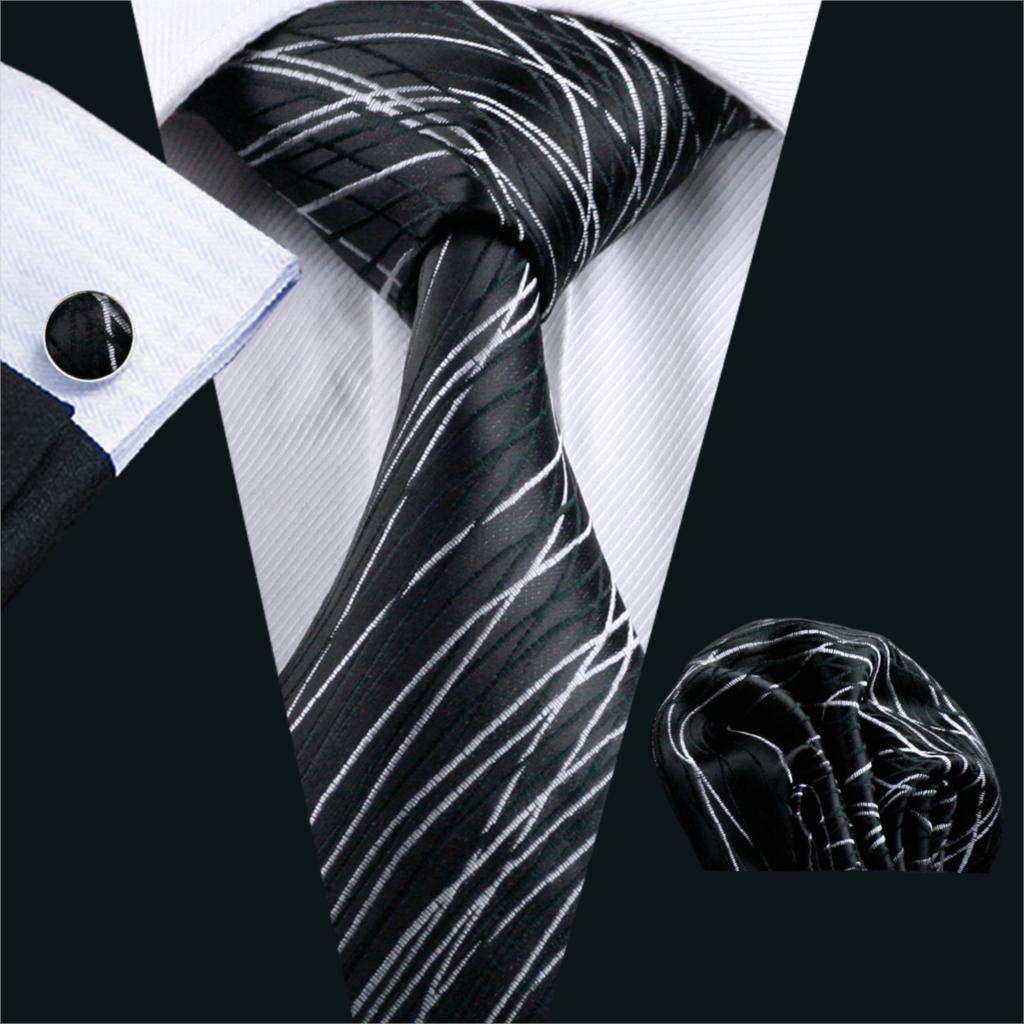 FA-1171 2018 Barry.Wang New Mens Tie Fashion Black Geometric Silk Jacquard Necktie Hanky Cufflinks Set For Business Wedding
