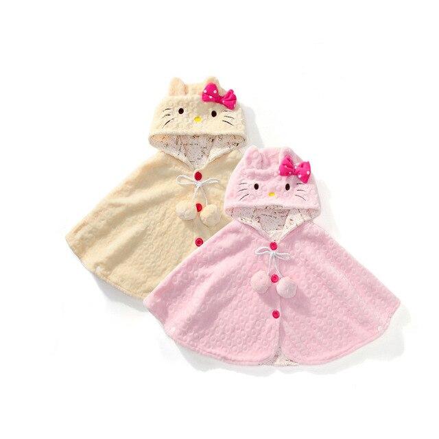 2017 весна осень Hello Kitty Дети Девочка Одежда Мягкого Флиса Плащ Пальто Малышей Девушки Clothing Мыс Для Зимнего Верхней Одежды