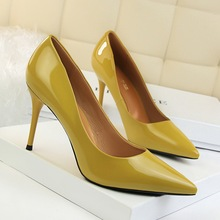 цена на New Women Pumps Shoes Sexy Patent Leather Shallow Slip-On Pointed Toe 9cm Thin High Heels Wedding Party Lady Solid Female Shoes