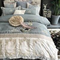 Svetanya Вышивка постельных принадлежностей 1000TC хлопок постельное белье Королева Король Размер роскошное одеяло простыня наволочки наборы