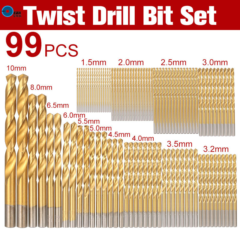 HSS Twist Drill Bit Set Saw Set 99pc/set Titanium Coated Twist Drilling Bits 99in1 1.5-10mm For Cordless Screwdriver with Case free shipping of 1pc hss 6542 made cnc full grinded hss taper shank twist drill bit 11 175mm for steel