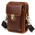 TIDING New Oil Leather Military Waist Pack Small Cell Phone Purse Messenger Bag For Men 3142