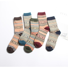 Autumn and winter mens thick rabbit wool line tide socks retro national style square tube free shipping