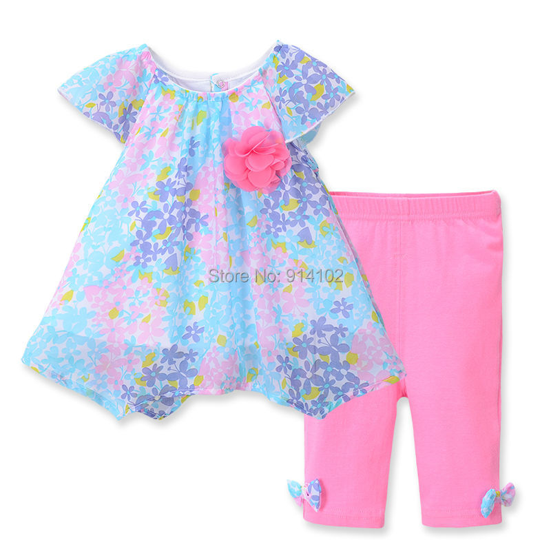 Zomer bloemen baby meisje kleding sets t shirt & broek chiffon tops - Kinderkleding