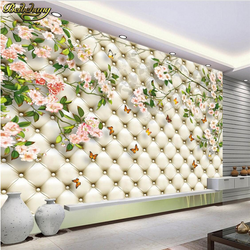 Beibehang Custom Photo Wall Murals Wall Stickers High Imitation Soft Bag Flowers TV Background Wall Papel De Parede
