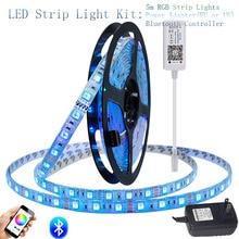 SMD 5050 RGB Bluetooth Controller LED Strip light 5M 60led/m Waterproof ip 65 neon Flexible Tape diode ribbon DC 12V adapter set все цены