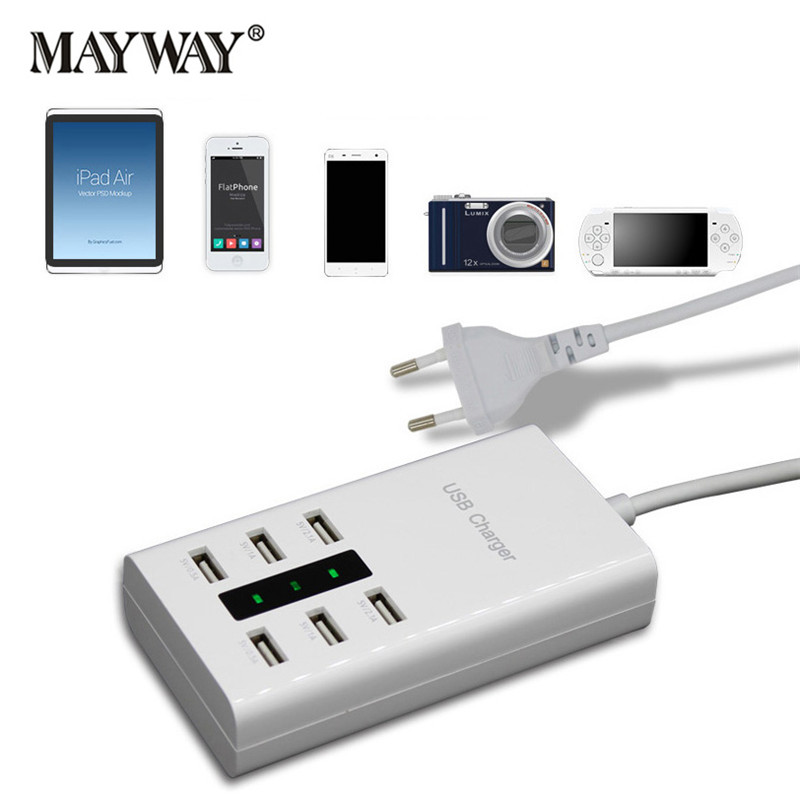 цена на Fast Charging 6 USB Ports Power Charger Adapter Travel Strip with EU UK US Plug Sockets For iPhone iPad Samsung Charging Device