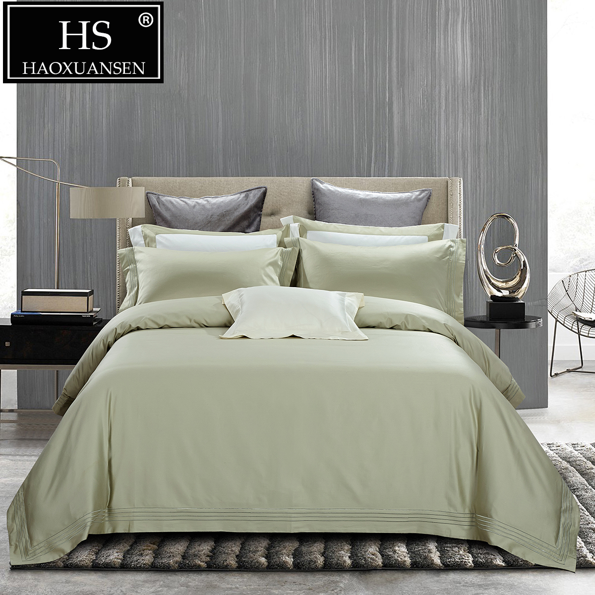 luxury high end 650 thread count embroidery 4pcs bedding set 100 egyptian cotton bed linens. Black Bedroom Furniture Sets. Home Design Ideas