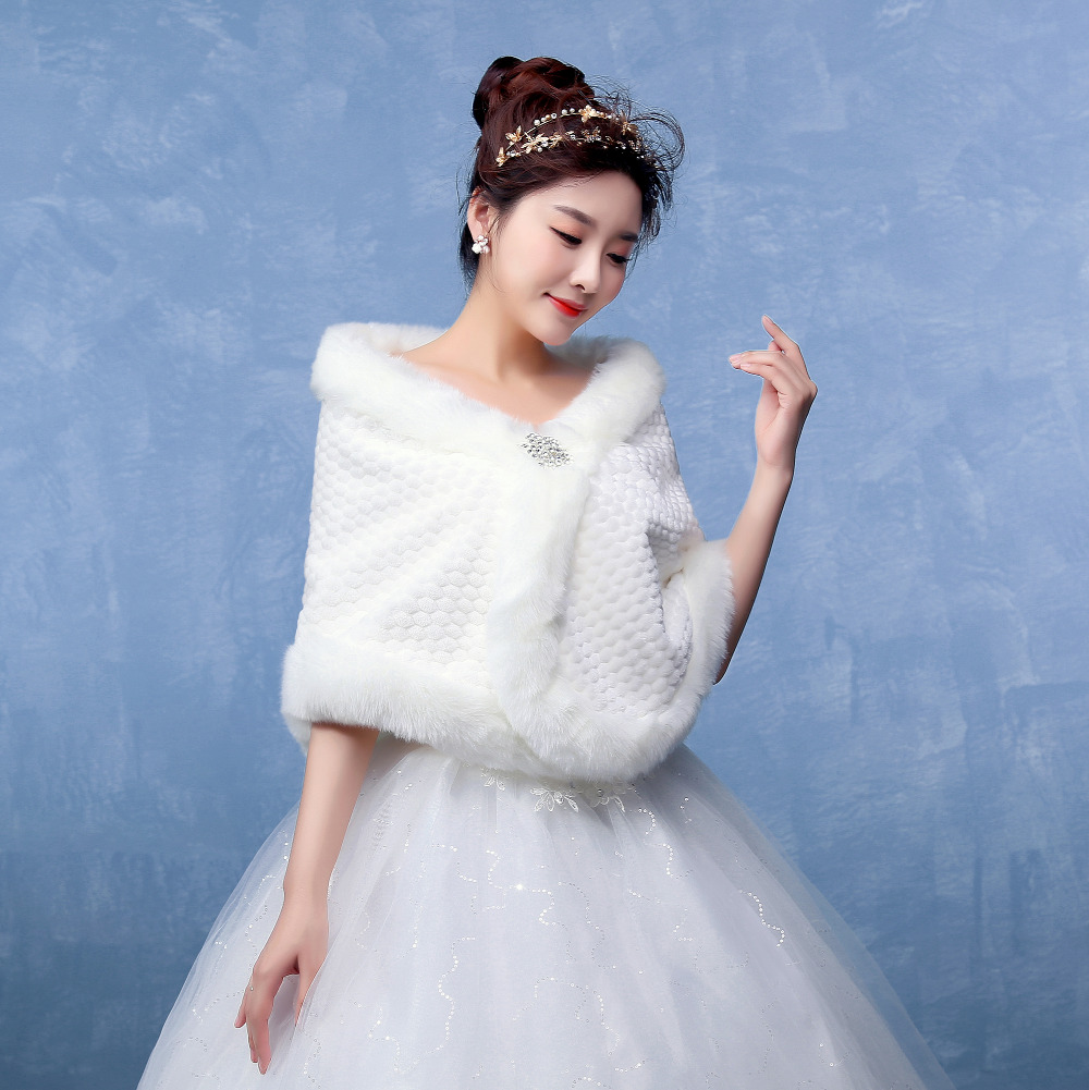 New Fashion Warm Faux Fur Bridal Shawls Jacket with Diamond Wedding ...