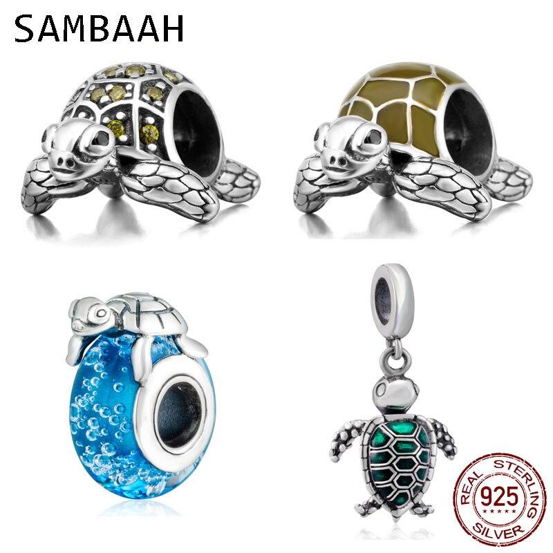 Sambaah Sea Turtle On Blue Sea Glass Charms 925 Sterling Silver Various Turtle Beads For Original Pandora Animal Summer Bracelet