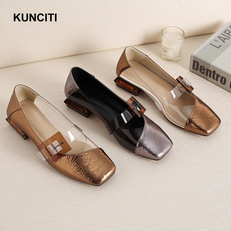 2019 kunciti 스퀘어 발가락 로퍼 신발 여성 유럽 디자이너 한국어 신발 패션 여성 가을 신발 골드 버클 플랫 f9127-에서여성용 플랫부터 신발 의  그룹 1