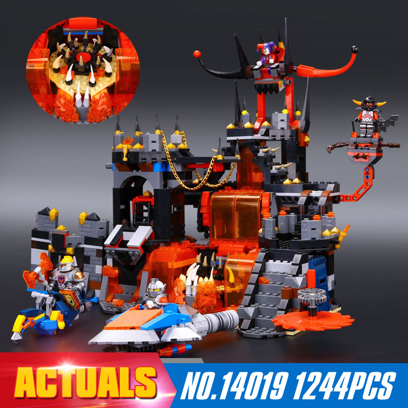 ФОТО 1244Pcs New LEPIN 14019 Knights Jestros Vulkanfestung Model Building Blocks Bricks Toy Compatible  Kid Toy