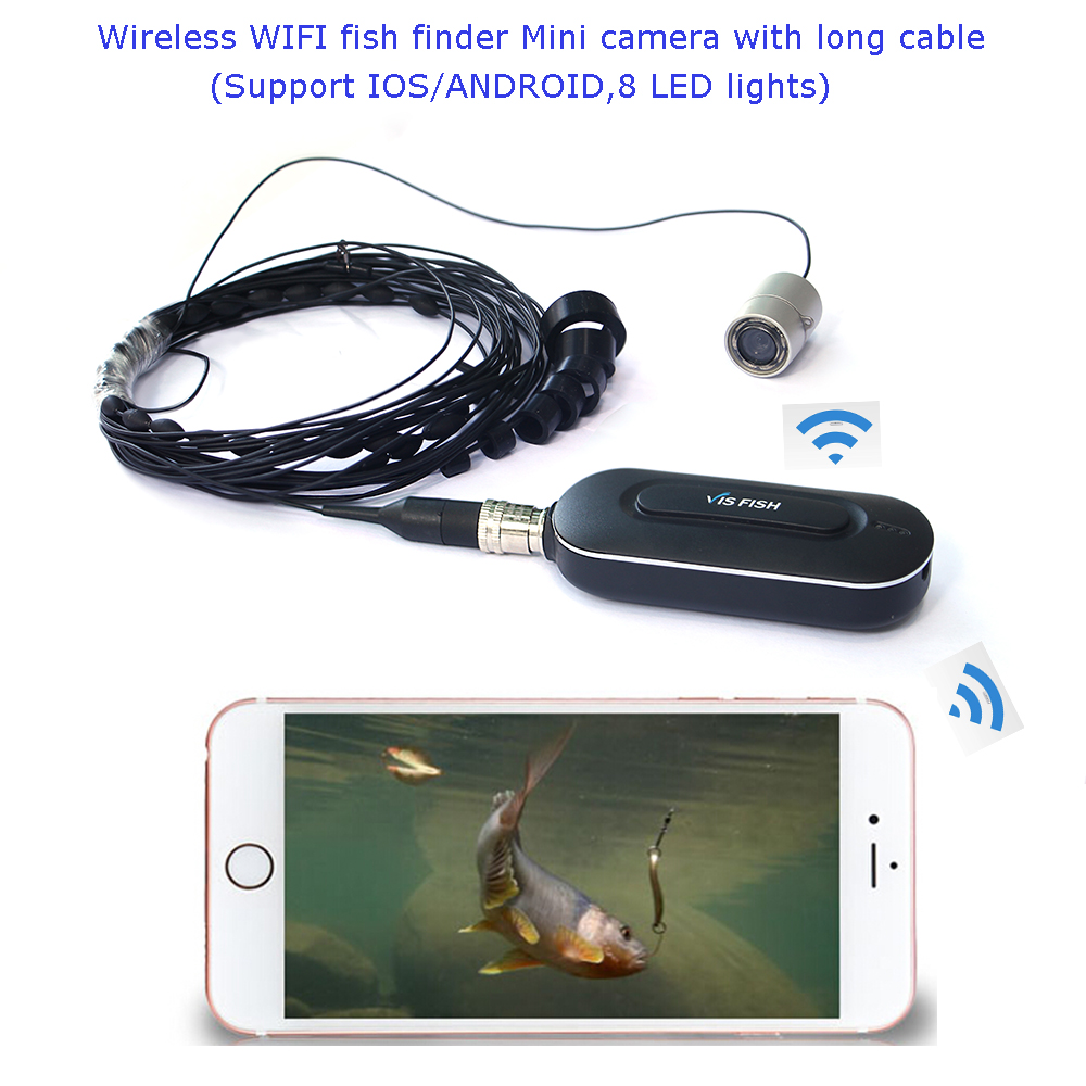 Underwater wireless fishing video camera WIFI APP box ( 8 IRS,10meters long cable,support iphone/Android phone) image