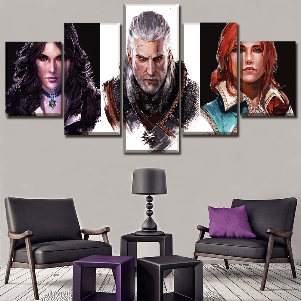 Modern Wall Art Printed Canvas Poster 5 Piece Game The Witcher 3 Wild Hunt Role PaintingHome Decor Modular Pictures Frameswork in Painting Calligraphy from Home Garden