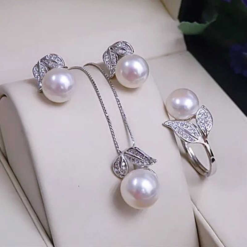 Pearl earrings necklace Pendant ring for women natural Freshwater white pearl jewelry set 925 sterling silver jewelry sets gift