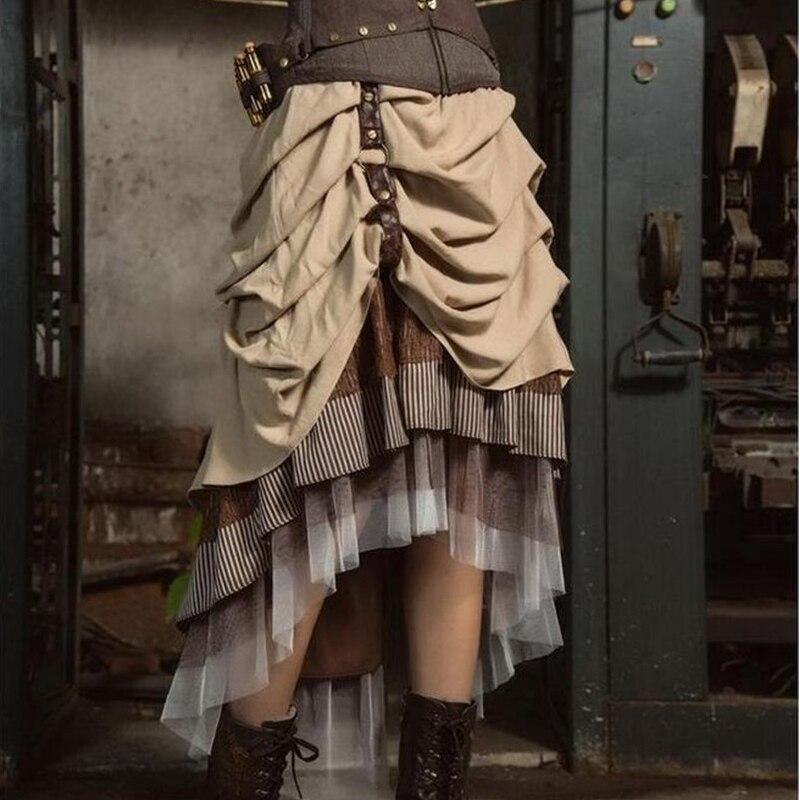 Vintage Victoian Bustle Steampunk Brown Skirt Asymmetrical High Low Skirt  SP169