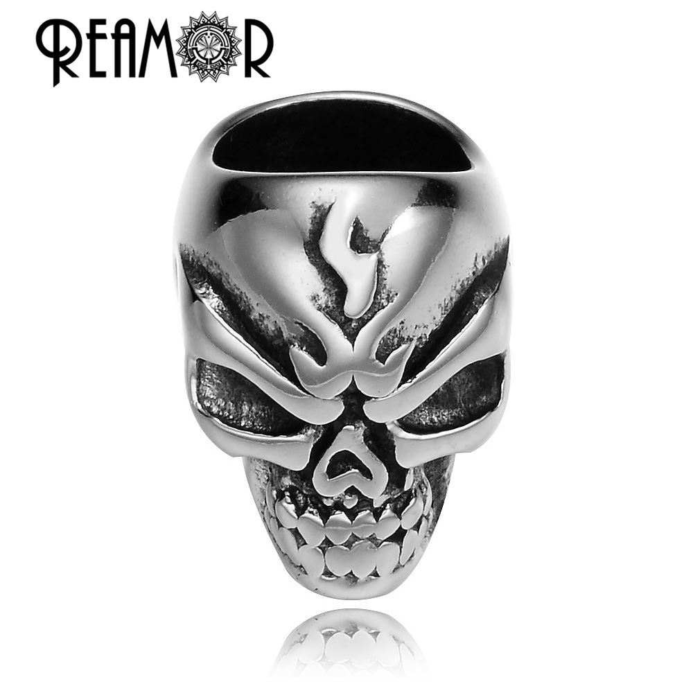 دانه های استیل ضد زنگ REAMOR 316L Gothic Punk Skull Beads Paracord Spacer Beads Beads for Jewel DIY