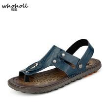 WHOHOLL 2019 Brand Summer Beach Flip Flops Men Pu Leather Sandals Male Flats Outdoor Shoes sandals