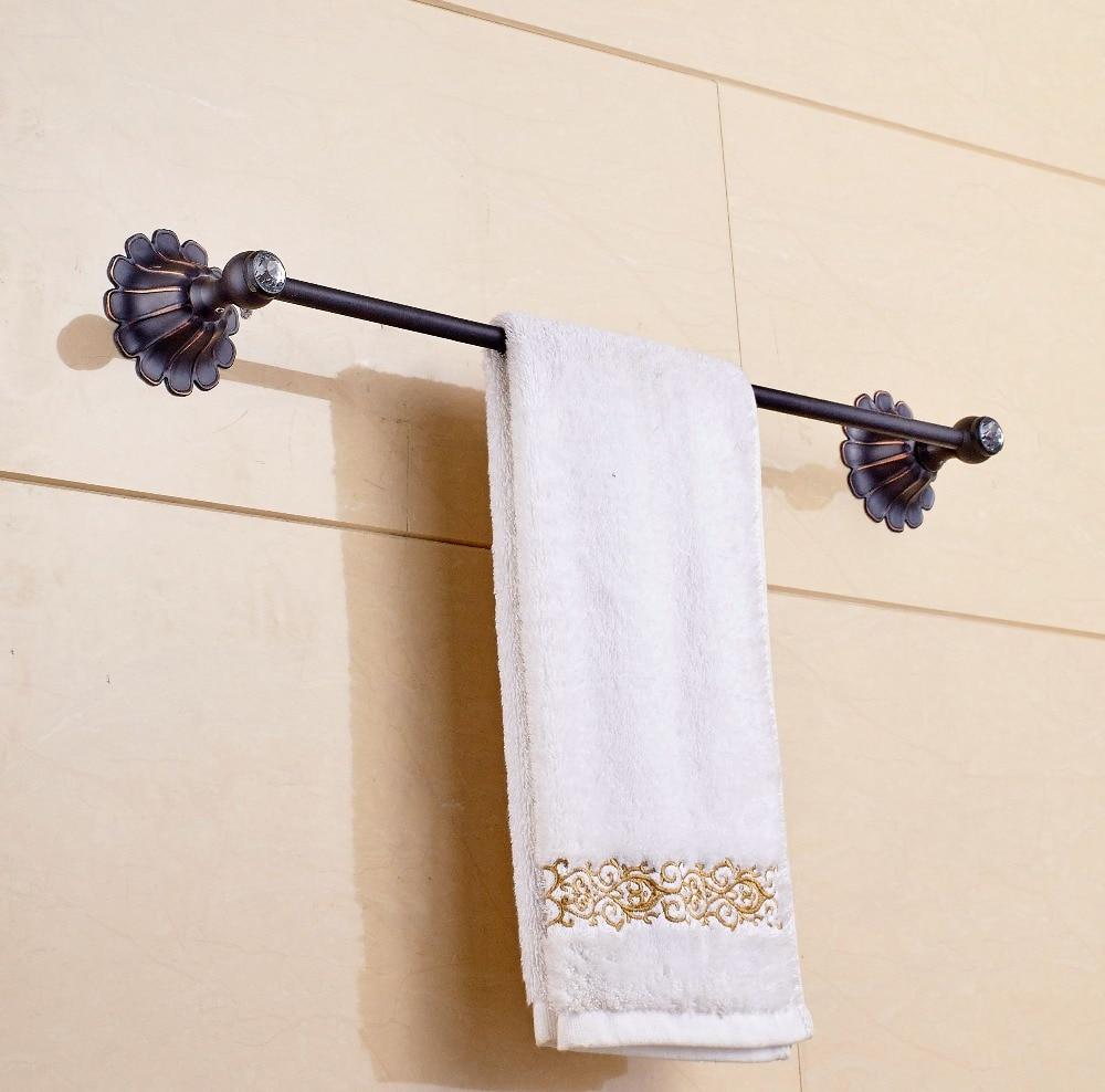 Wall Mounted Single Bar Oil Rubbed Bronze Towel Rack Bath Towel Hanger oil rubbed bronze wall mount towel rack holder round towel bar hanger solid brass