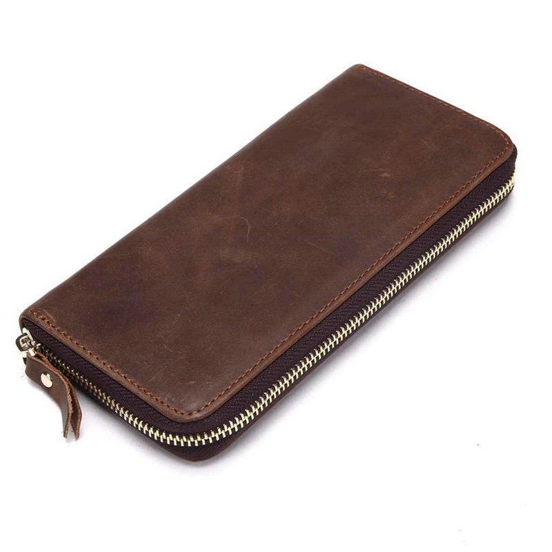 New Crazy horse Zipper Money Clip Wallet Clutch Bag Men's Purses Genuine Leather Men Wallets Leather Man Wallet Long Male Purse double zipper men clutch bags high quality pu leather wallet man new brand wallets male long wallets purses carteira masculina