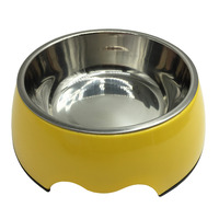 2Ways Premium Pet Dog Cat Stainless Steel Painted Bowl Anti Slip Water Food Dish Melamine No