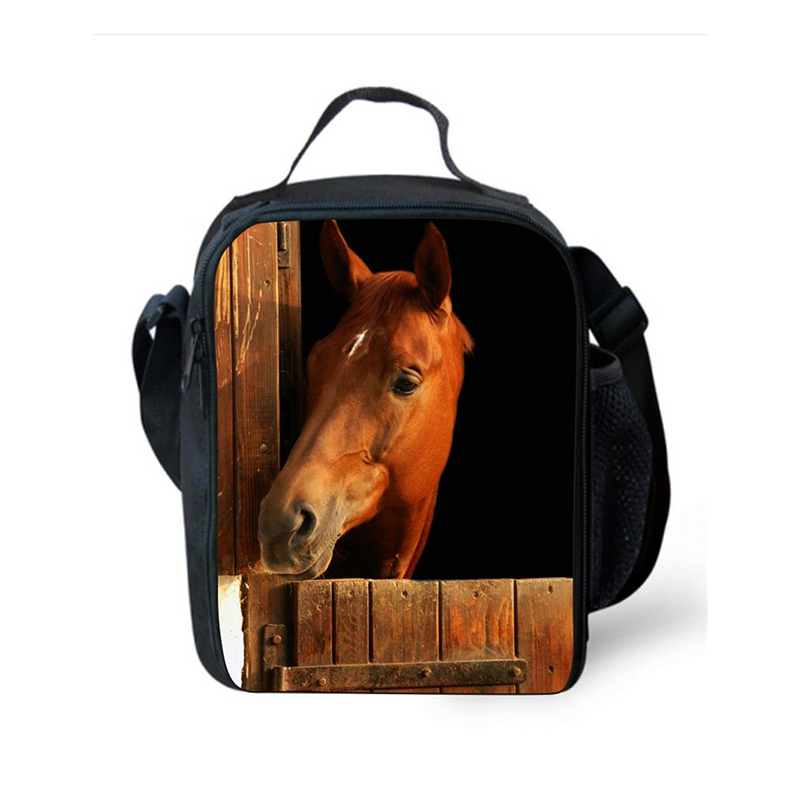 Children Insulated Cooler Bag Animal Horse Print Lunch Bags For Kids Food Container Small Lunch Bag For Working School Meal Bags