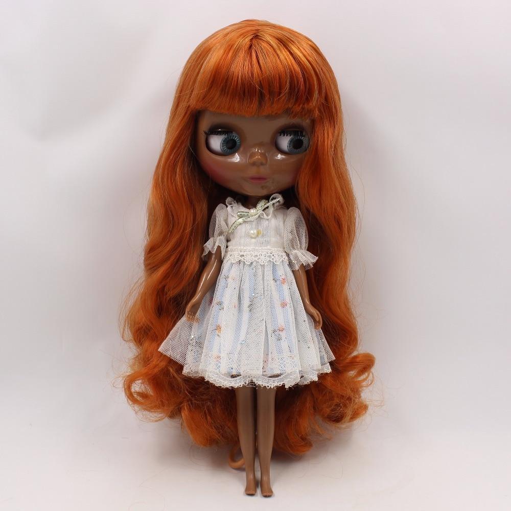 Oyuncaklar ve Hobi Ürünleri'ten Bebekler'de Servet gün fabrika blyth doll süper siyah cilt tonu koyu cilt kahverengi karışımı orange saç BL764A/1207 normal vücut 1/6 30cm'da  Grup 1