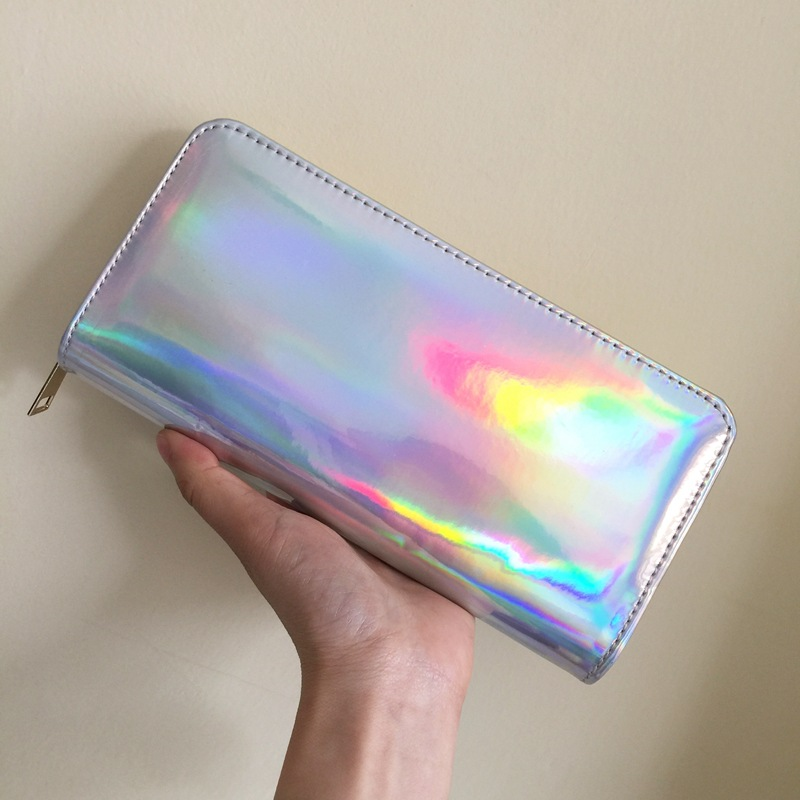 Westcreek Brand PU Leather Fashion Holographic Women Long Zipper Wallets Laser Hologram Wallets Clutch Women Luxury Purses