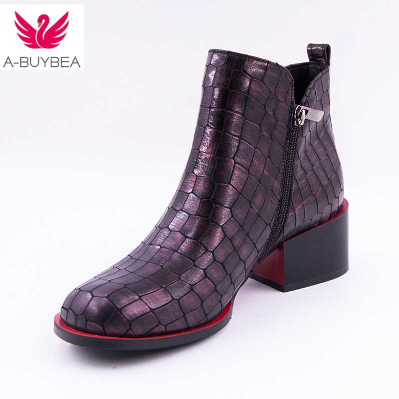 2018 Spring New Women's Shoes Genuine Leather Ankle Boots Fashion Square heel sexy Round Toe High heels Stone grain women boots drop shipping 2015 fashion arrive sexy full grain leather lady high heels motorcycle boots for women genuine leather ankle boots