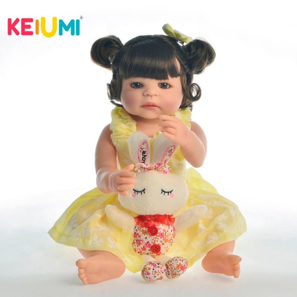 KEIUMI 22 pouces bébé Reborn Silicone corps complet fille Boneca Reborn 55 cm réaliste bébé poupées enfants jour cadeaux lit temps Playmate