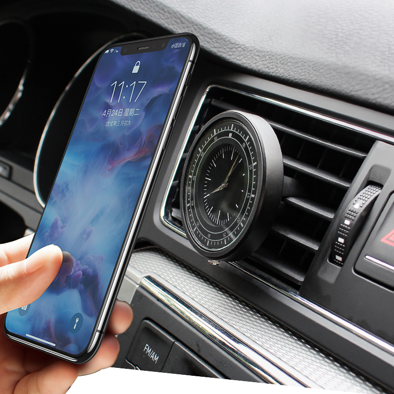 Clock Magnetic Car Phone Holder For IPhone XS X Samsung Magnet Mount Car Holder For Phone In Car Cell Mobile Phone Holder Stand