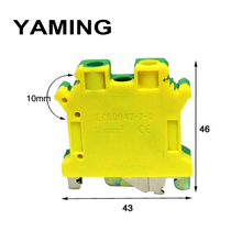 10pcs/lot USLKG-10 UK10N 10mm2 Square 800V 61A Group Type Yellow Green Ground Terminal Blocks Connection DIN Rail Universal