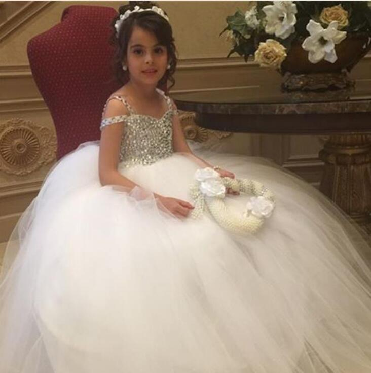 High Quality Sweetheart White Crystal Ball Gown   Flower     Girl     Dresses   2017 Kids Birthday   Dress   For Wedding Party Little Bride Gown