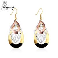 Filigree Earrings For Women Brass Gold Color Hollow Modern Outline Leaves Disc Drop Earring HIYONG Brincos