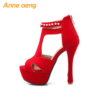 Spring Summer Women Sandals Platform 14cm High Thin Heel Fish Peep Pearl Gladiator Sandals Zip Wedding
