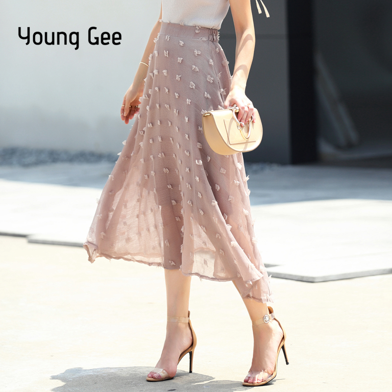 Young Gee Tulle Skirts Women 2019 Summer Casual High Waist Long Skirt Elastic Waist Sweet Linen Tutu Skirt Jupe Longue Femme