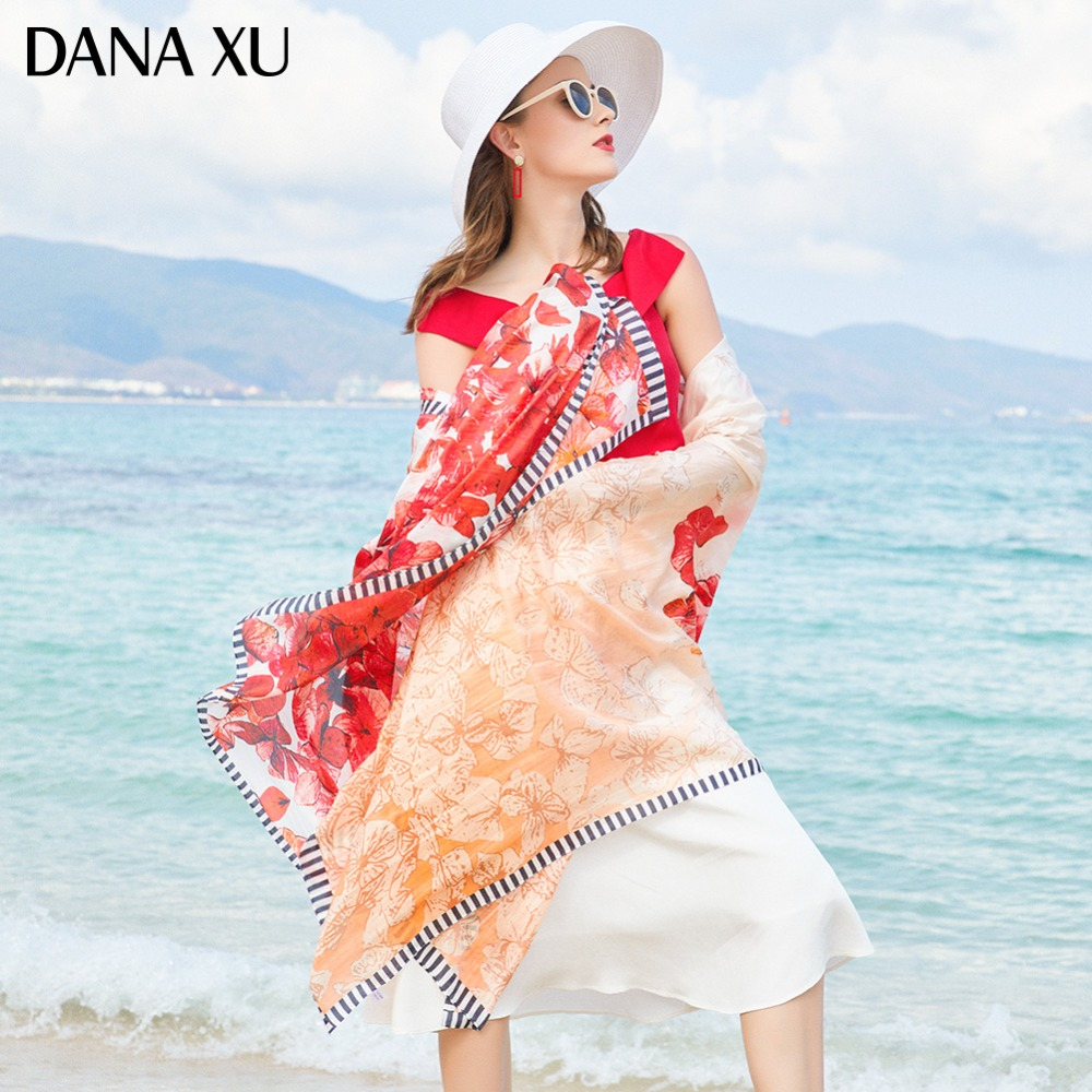 2019 Silk Long Scarf Luxury Brand Women New Design Beach Blanket Shawl Wear Swimwear Bandana Hijab Face Shield Foulard 245*110cm