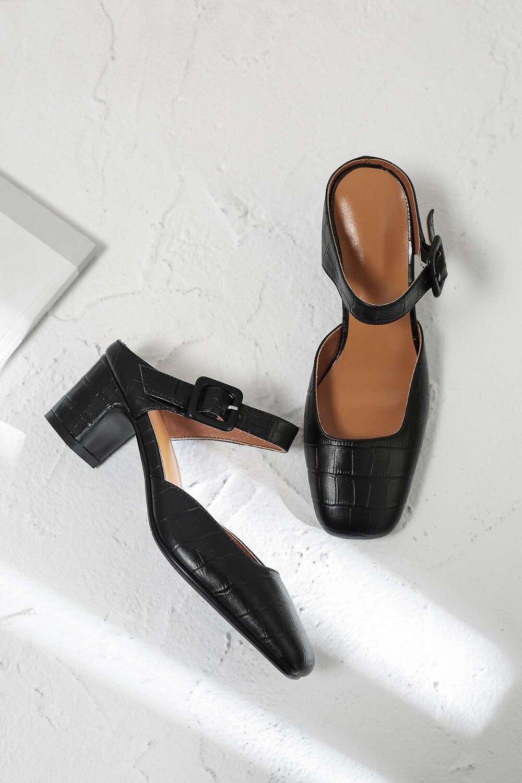 Talons En Boucle Pompes Haute Classique Naturel Cuir Lenkisen Nouveau L11 Sur Carré nu Ceinture Slip Noir Parti Mules Design Chaussures Bout Épais Creux 0vNw8mn