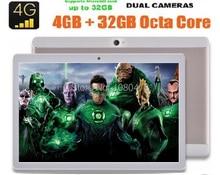 Envío libre 10 pulgadas Octa Core tablet pc Android 6.0 3G 4G LTE 4 GB RAM 64 GB ROM Tarjeta Dual SIM IPS 1920*1200 tabletas PC 10.1
