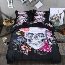 3D Flower Skull Bedding Set Bed Sheet Plaid Duvet Cover Pillowcase Black Europe Style Fashion Full Queen King Size Bedroom(China)