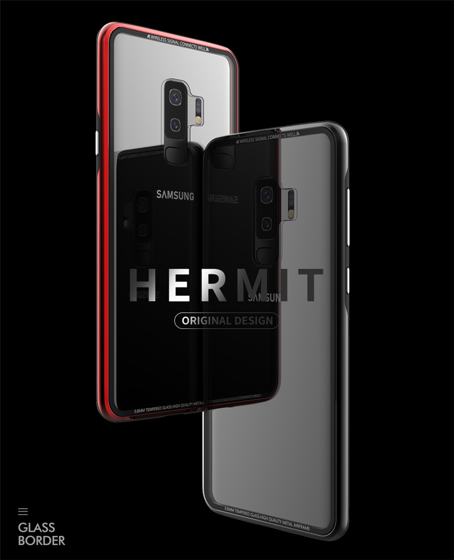 Luxury Aluminum Phone Cases For Samsung galaxy s9 Original R-just Hardness Tempered Glass Cover Case S9 Plus S9+ Accessories (1)