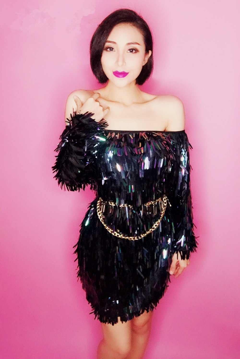 2a171f5ee0 Black Sequins Short Dress Women Stage Costume Sequined Strapless Dress Bar  Female Singer DJ Dance Wear Prom Star Party One Piece