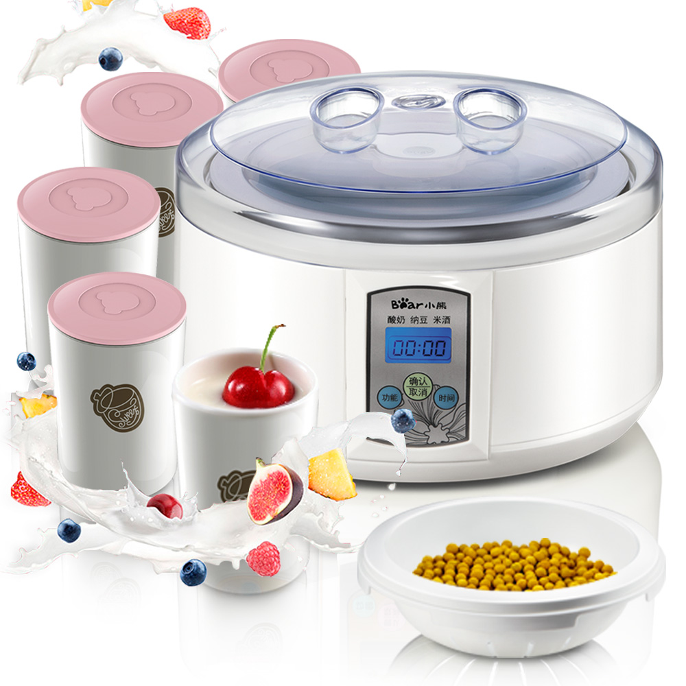 Bear 20w Electric Yogurt Makers 1.5L Lagre Capacity Rice Wine Natto Yogurt Machine Automatic Stainless Steel Sub-cup Yogurt DIY purple yogurt makers rice wine natto machine household fully automatic yogurt glass sub cup liner multifunctional kitchen helper