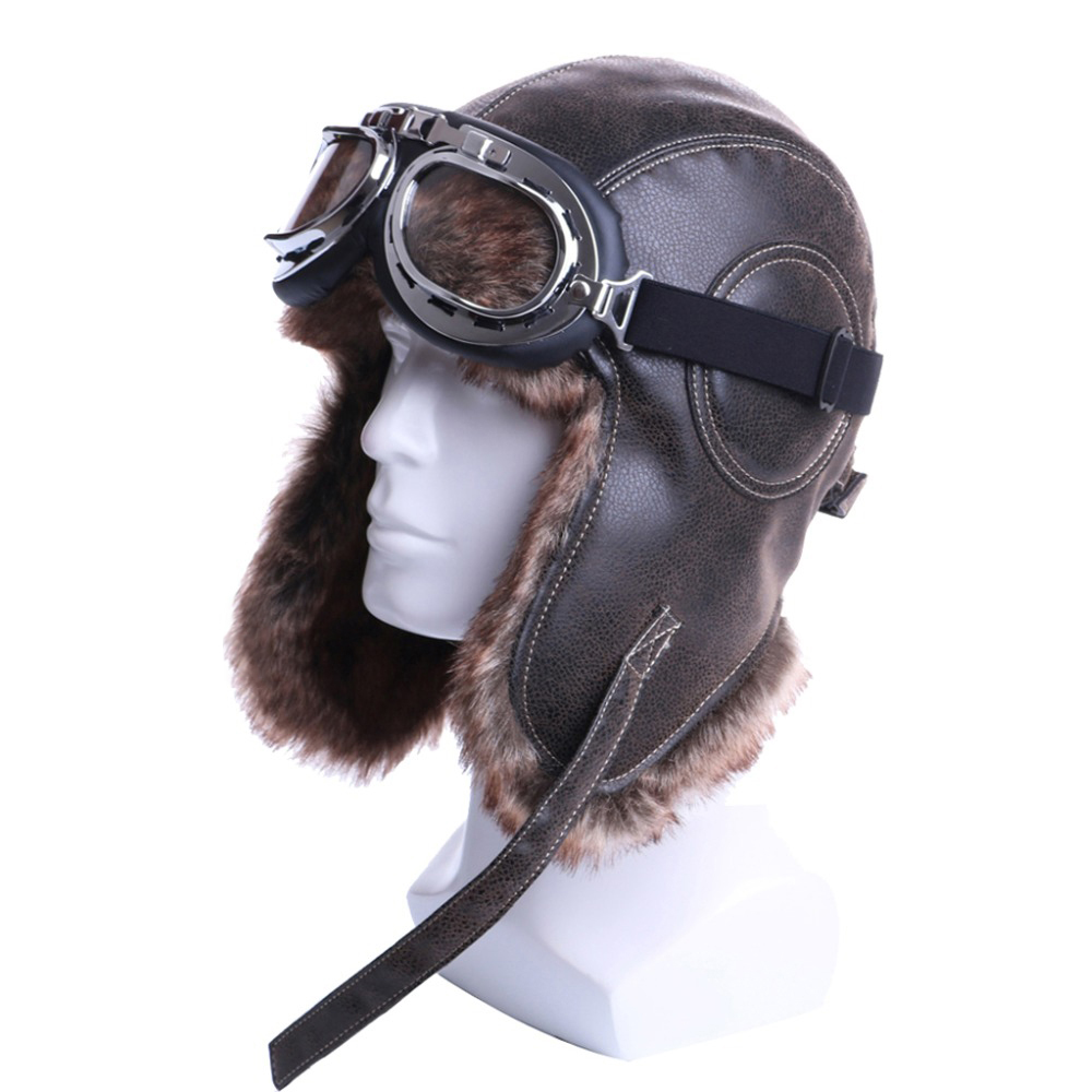 Winter Bomber Hats Plush Earflap Russian Ushanka with Goggles Men Women's Trapper Aviator Pilot Hat Faux Leather Fur Snow Caps(China)